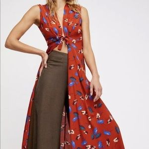 free people • floral print tie-front duster